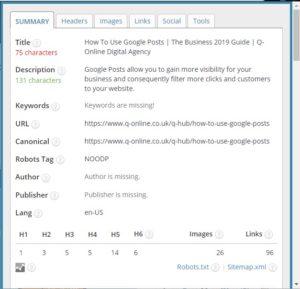 SEO Meta 1 Click: On Page Analysis Tool